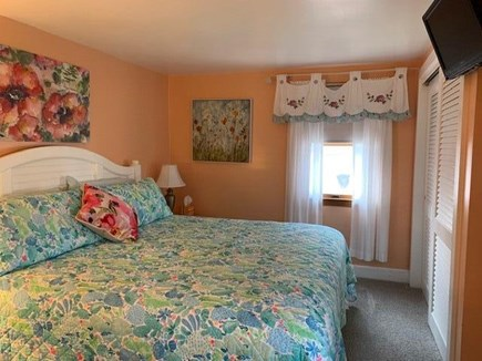 Mashpee, Popponesett Beach Cape Cod vacation rental - Master Bedroom with TV, with Master Bathroom King Size Bed