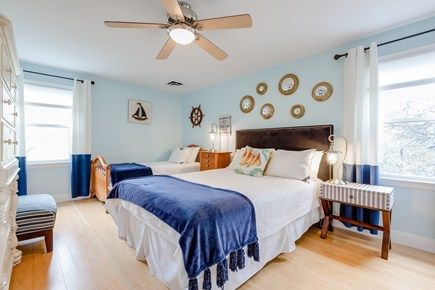 Eastham Cape Cod vacation rental - Captain's quarters! Queen and twin sized beds, navy blue themed