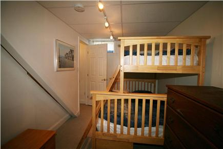 HarwichPort Cape Cod vacation rental - Basement BR 4: bunks:twin / full - opens to TV area, own shower