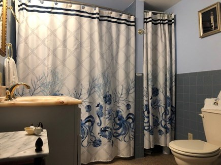South Yarmouth/Bass River Cape Cod vacation rental - Bathroom. Tub/overhead shower. Outdoor shower too. Sink / vanity