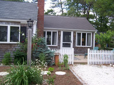 South Yarmouth/Bass River Cape Cod vacation rental - Front Patio off the Great Room, Sitting Area