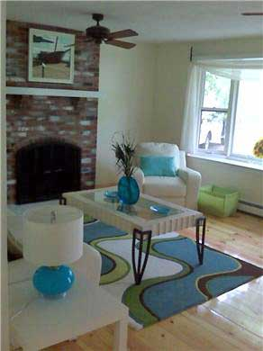 Harwich Port Cape Cod vacation rental - Living Room with fireplace - quiet room to relax