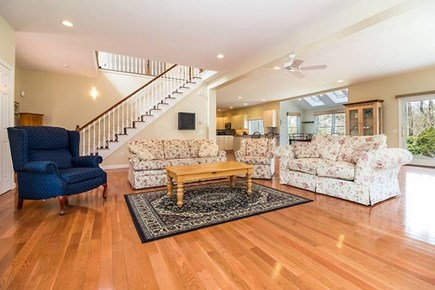 Wellfleet Cape Cod vacation rental - Living Room with fireplace, 50 Inch Flat Panel TV