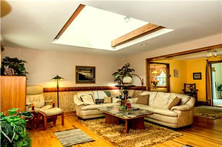 East Orleans Cape Cod vacation rental - Bright living room, comfy Italian leather couches.