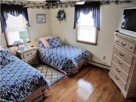 East Falmouth Cape Cod vacation rental - Second Bedroom - two twin beds, dresser, closet, TV, A/C unit