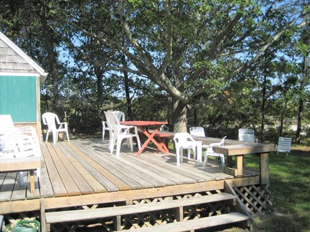 Dennisport - beach-yards away Cape Cod vacation rental - From the kitchen step on to the Private Deck. BBQ in yard.