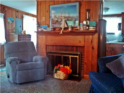 Mashpee, New SeaburyPopponesset Beach Cape Cod vacation rental - Living room with fireplace