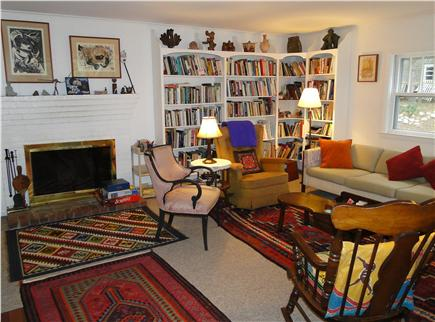 S. Wellfleet Cape Cod vacation rental - Showing other half of living room, fire place