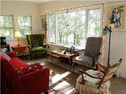 S. Wellfleet Cape Cod vacation rental - Showing half of living room, views of water