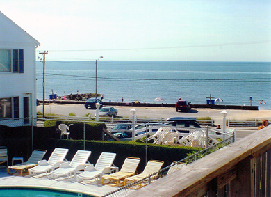 Dennisport Cape Cod vacation rental - Swimming pool with ocean in background