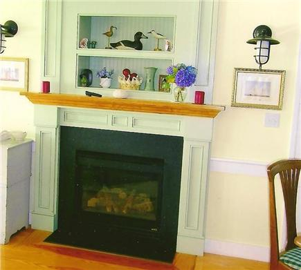 Hyannis Cape Cod vacation rental - Our gas fired fireplace ready for a cool, foggy evening