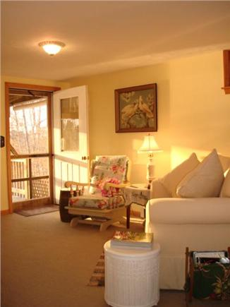 Brewster Cape Cod vacation rental - Living room facing the deck and pond beyond