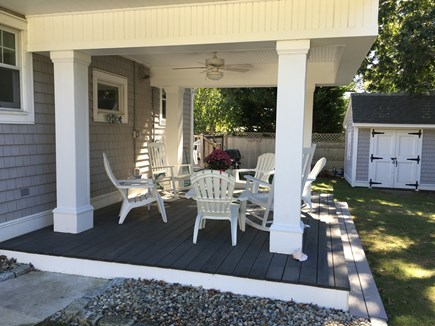 Falmouth Heights Cape Cod vacation rental - Covered outdoor deck with fan