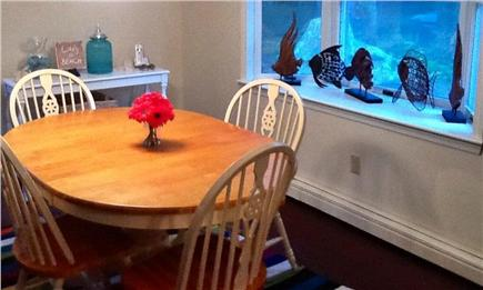 Falmouth Cape Cod vacation rental - Comfortable Dining Area Leading to Deck & Woods