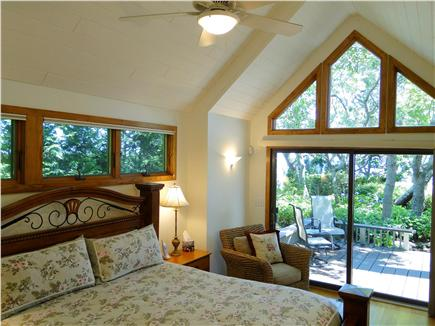 Plymouth MA vacation rental - First floor king master bedroom with full bath, slider to deck