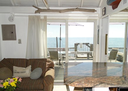 North Truro Cape Cod vacation rental - View from kitchen of sitting area and deck