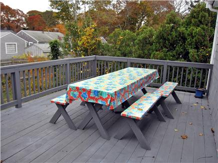 West Yarmouth Cape Cod vacation rental - Back deck with picnic table.