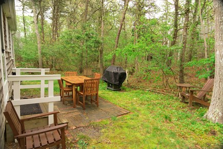 South Chatham Cape Cod vacation rental - Back yard with propane grill
