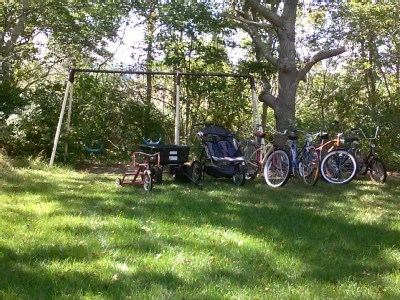 West Yarmouth Cape Cod vacation rental - Backyard - swingset, bikes, strollers