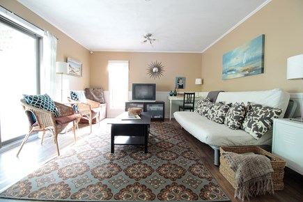 Wellfleet Cape Cod vacation rental - Downstairs den w/ full size sleeper sofa, exit to porch.