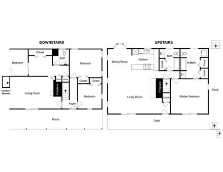 Wellfleet Cape Cod vacation rental - Floor plan.  Not shown: the 800 sf bonus room above the garage.