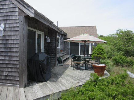Truro Cape Cod vacation rental - Deck off the Queen Bedroom and Kitchen, Dining Table and Barbecue