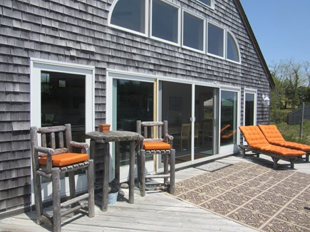 Truro Cape Cod vacation rental - Large Outdoor Deck off the Great-room with relaxing seating.