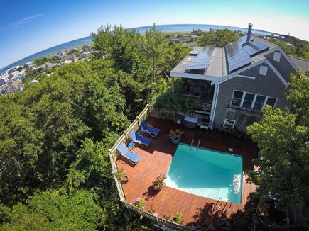 Provincetown Cape Cod vacation rental - Drone View of Oasis House and Pool
