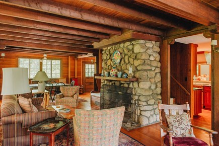 Woods Hole Woods Hole vacation rental - Open living room with stone fireplace