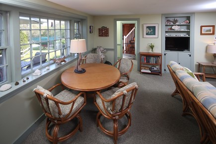 Chatham Cape Cod vacation rental - Living room with flat screen TV & table for games or dining