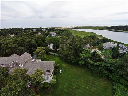 East Orleans Cape Cod vacation rental - Aerial shot showing house, large yard & close proximity to beach