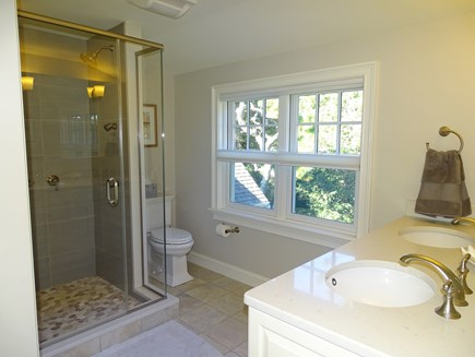 East Orleans Cape Cod vacation rental - Upstairs master bath with dual shower