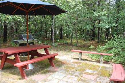 North Eastham Cape Cod vacation rental - Private backyard - patio with gas grill & dining area