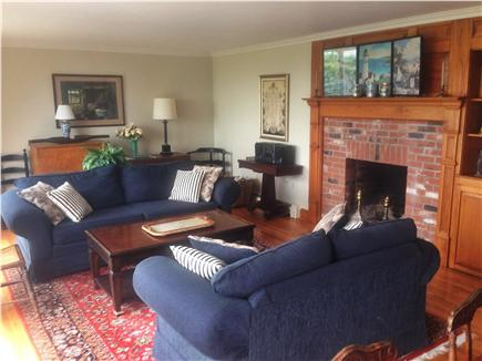 Barnstable Cape Cod vacation rental - Close up of fireplace and couches