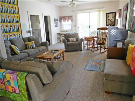 W. Dennis Cape Cod vacation rental - Comfortable living room with sliders to the deck