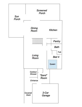 Truro Cape Cod vacation rental - First Floor Layout