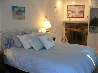 Dennisport Cape Cod vacation rental - Large Comfy Master bedroom with fireplace