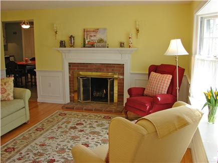 South Yarmouth Cape Cod vacation rental - Large bright living room with bay window, cable TV and fireplace