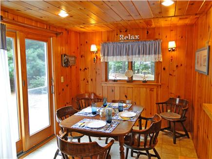 So. Chatham Cape Cod vacation rental - Dining area with sliders to front, sunny deck