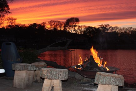 Wareham MA vacation rental - Waterfront firepit at sunset