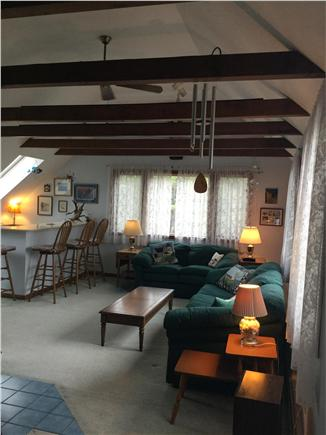 Truro Cape Cod vacation rental - 2nd floor family room with wet bar with access to upper deck.
