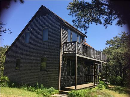 Truro Cape Cod vacation rental - Looking at the front and driveway side of the beach house.