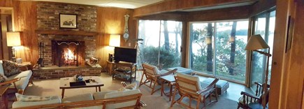 Harwich Cape Cod vacation rental - Spacious living room, kitchen. Water views from every room.