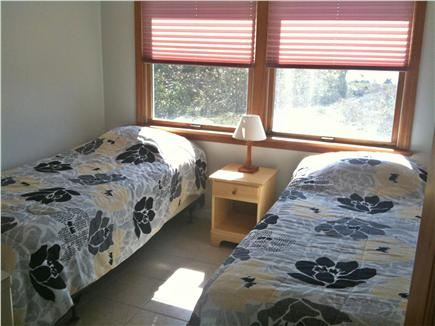 Bourne, Cataumet, Scraggy Neck Cape Cod vacation rental - Front Bedroom with XL twin beds and water view, window A/C.