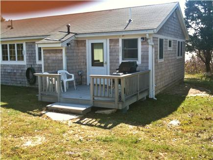 Bourne, Cataumet, Scraggy Neck Cape Cod vacation rental - Entry Door and Deck with gas grill and charcoal grill.
