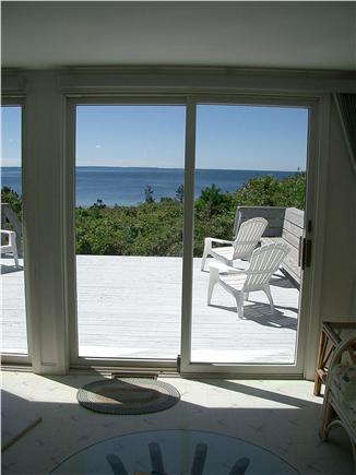 Bourne, Cataumet, Scraggy Neck Cape Cod vacation rental - Living Room and Large Deck with sun drenched views of the bay.