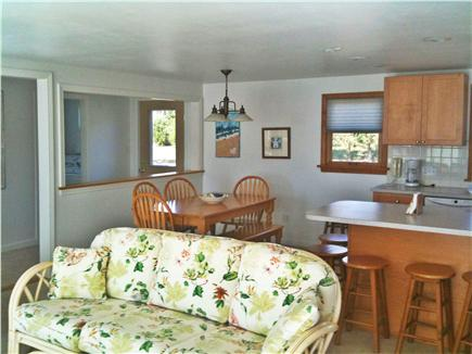 Bourne, Cataumet, Scraggy Neck Cape Cod vacation rental - Living Room, Dining Room, Kitchen comprise the bright great room.