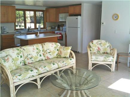 Bourne, Cataumet, Scraggy Neck Cape Cod vacation rental - Living Room and Kitchen, bright and cheery.