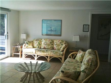 Bourne, Cataumet, Scraggy Neck Cape Cod vacation rental - Living Room with brightly colored, comfortable furniture.