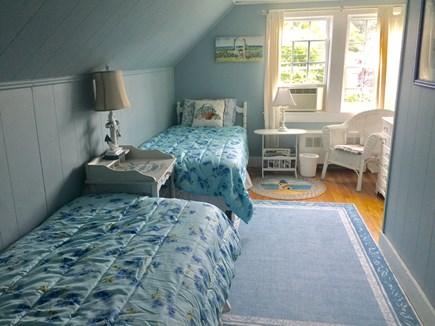 Hyannis Port Cape Cod vacation rental - Twin blue rose cottage bedroom.